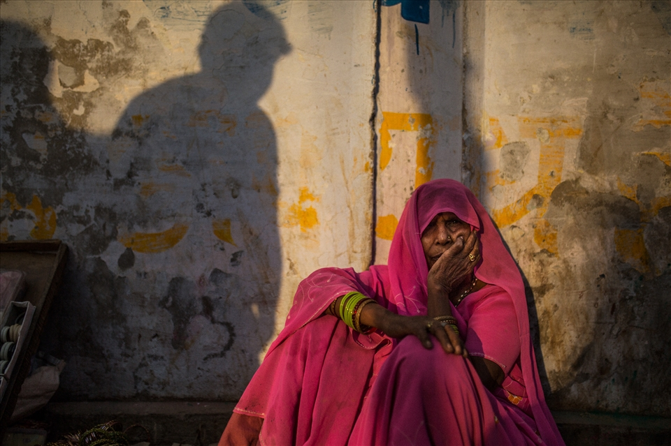 A widow begs in the street. Vrindivan is a refuge for exiled widows from Bihar