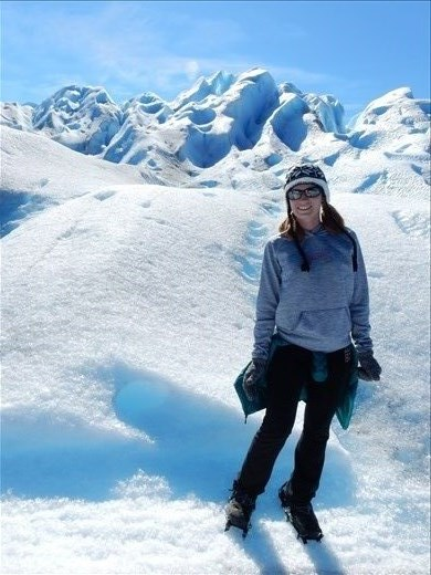 Danielle looking very fashionable with her crampons.