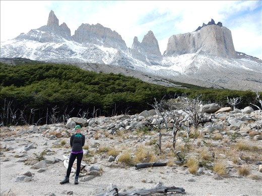 Tower on the right is Cuernos and towers on the left are still up for debate. We think it's the back side of Torres del Paine but have heard conflicting stories.
