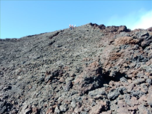 The terrain got steeper and more difficult towards the top of the crater.
