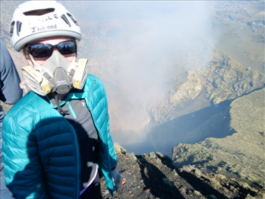 Made it to the crater! Fumes were overwhelming, fortunately we were supplied with air purifying respirators. Only allowed to spend 15 minutes there but it was the best ever. The sounds and sights of lava splashing down below was well worth the trek up.