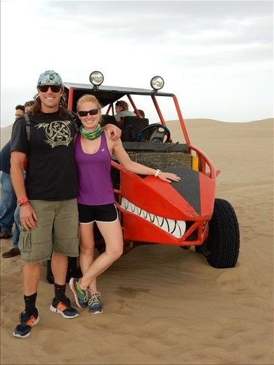 Two of our most terrifying experiences have came at the hands of Peru. First was the suicide mission taxi ride from the airport to hostel. Second was the dune buggy ride. Words can't explain how fast and treacherous this ride was. Even though we may look calm an happy in the picture, we were both still shaking.