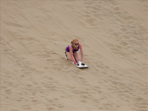 Danielle zooming down the dune!