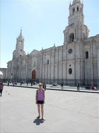 Basilica Catherdral located in the city of Arequipa. As with most buildings in the area the cathedral was built using white petrified lava giving the city the name