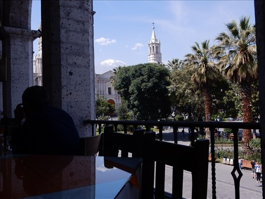 Had a nice lunch in the Plaza de Armas where the cathedral is located and a volcano is in the back yard.