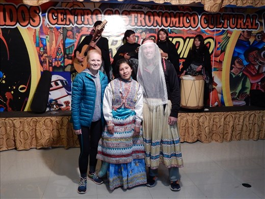 Peru cultural moment - Dinner and dancing. Everyone was encouraged to participate in the dance and when I did they dressed me up like a girl.