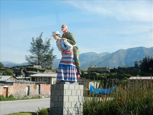 Town of Maca had the most interesting statue in the plaza. We weren't sure what to make of it.
