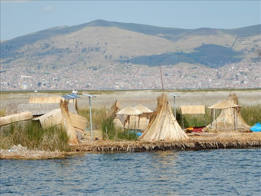 Arriving at Uros floating reed islands.