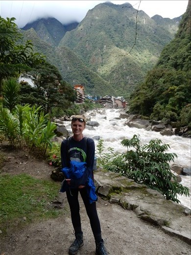 Entering the town of Aguas Calientes and the roaring Rio Vilcanota.