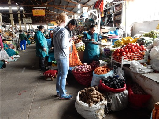Cooking class in Cusco, Peru. At the market getting ingredients to make Causa Ulimena.