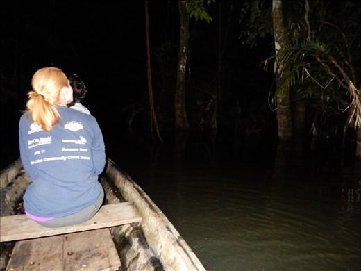 Night time jungle adventure in a canoe.