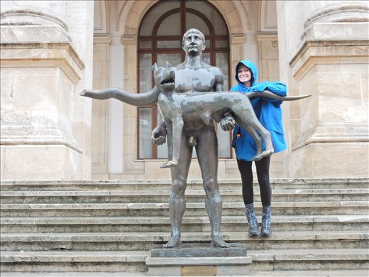 Quite possibly the ugliest statue in Bucharest. The statue is not well received by locals due to the awkwardness of an emperor not wearing any underwear while a stray dog wearing a scarf levitates in his arms.