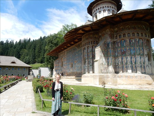 Voronet Monastery is one of the famous painted monasteries featuring an intense shade of blue called Voronet blue. Restoration is unable to be conducted because the color Voronet blue cannot be replicated.