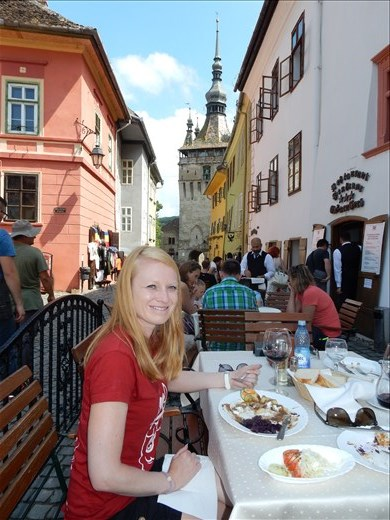 Lunch in the mid evil town of Sighisoara birthplace of Vlad the Impaler.
