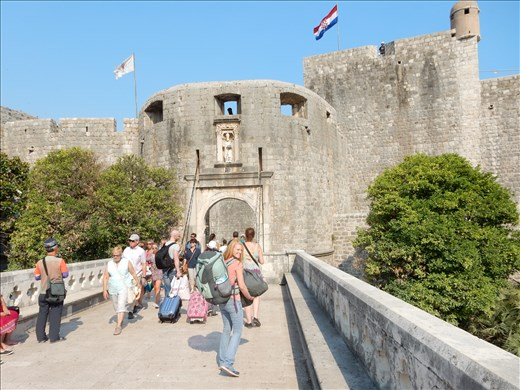 Entering Pile Gate into Old Town Dubrovnik.