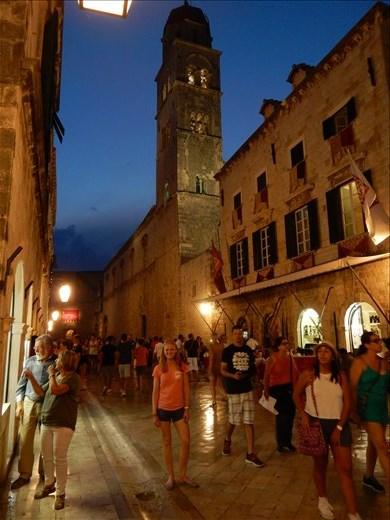 Walking the shiny marble streets of Old Town Dubrovnik at night.