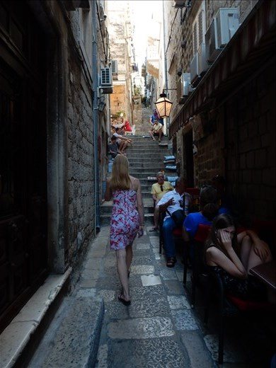 The narrow alleys were lined with restaurants but you had to a lot of stairs to get to them.