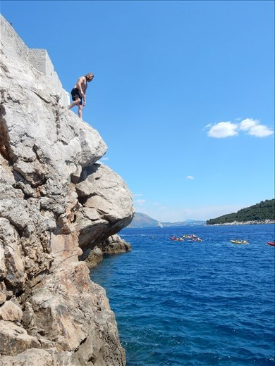 Cliff jumping off the Old Town walls.