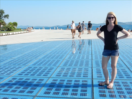 Solar panels and Sea Organ at Zadar. The Solar panels light up at night and the Sea Organ plays music by way of sea waves and tubes located under marble steps.