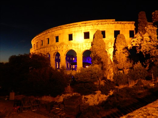 Pula Arena in Pula Croatia. It's the only remaining amphitheater to have all three towers and all three Roman architectural orders entirely preserved. The arena is still used today for concerts. Two Cellos played earlier this month and we had a chance to see Sting but who wants to see Sting. The music he's created over the years I don't really listen to it, but the fact that's he's been making it for years - I respect that.