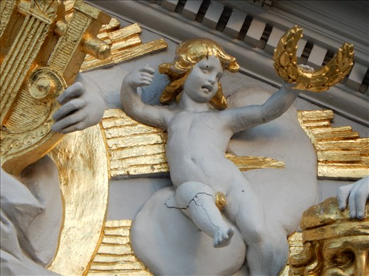 One the best parts of the theater was the cherub inside the pediment with the golden penis. Rumor says it was painted by the decorator as an act of revenge to upset the opera house.