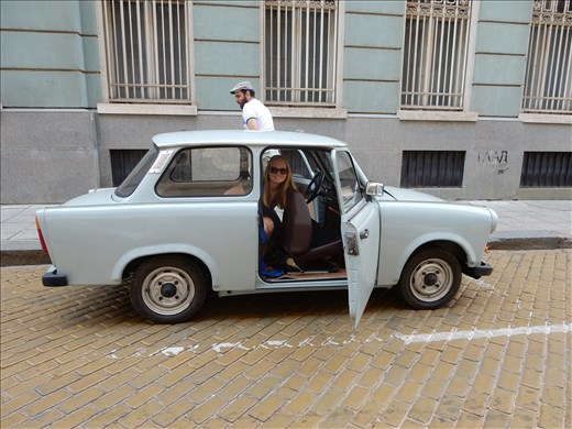 Being the only two people that showed up for the free walking communist tour gave us the chance to ride in a Trabbi. Lots of honks and waves as we drove around town.
