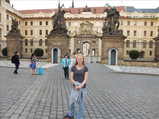 Prague Castle and some serious Fighting Giant violence at the entrance gate.