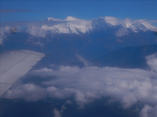 Flight from Kathmandu to our trekking starting point near Pokhara gave us a preview of the Himalayan mountains.