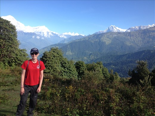Weather the first few days of trekking was perfect. To put it in perspective, the Annapurna mountains in the background are where we are heading.