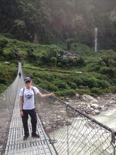 Danielle loves posing for photos on suspension bridges.