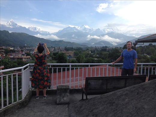 Great rooftop view of the Annapura Sanctuary for our hotel in Pokhara. Next up Gokyo Lakes region to look at Everest.