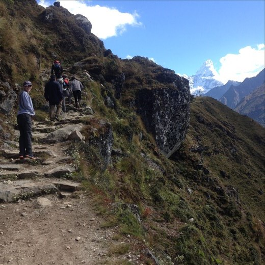 Up to the top of Namche Bazaar to catch a look at Everest.