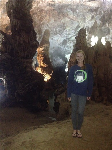 The cave is filled with stalagmites and stalactites.