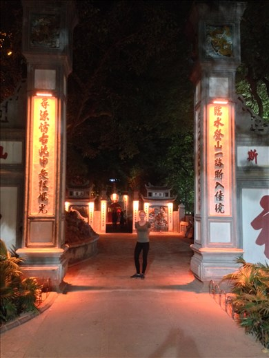 Entrance to Ngoc Son Temple built in commemoration of the 13th century military leader Tran Hung Dao who was renowned for his bravery in the battle against the Yuan Dynasty.