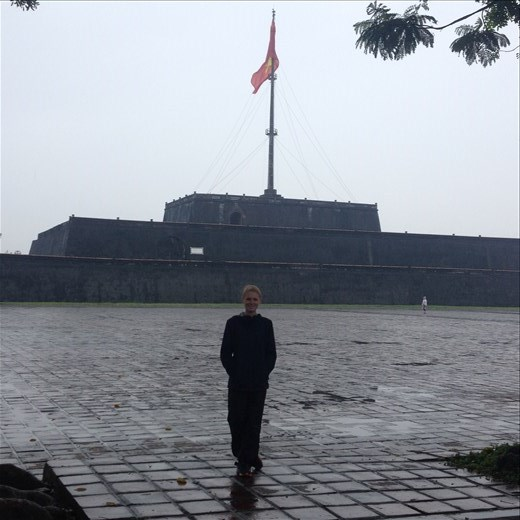 Entering the Imperial City of Hue. The city is fortified with three layers of walls.