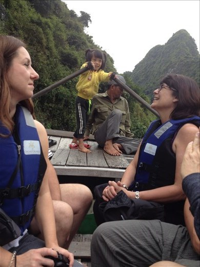 Took a row boat around Ha Long Bay. Rowed through some caves and kayaked.