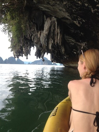 Sea cave exploring in Phang Nga Bay. These limestone mountains are literally melting from the difference in pH between the rain and limestone.