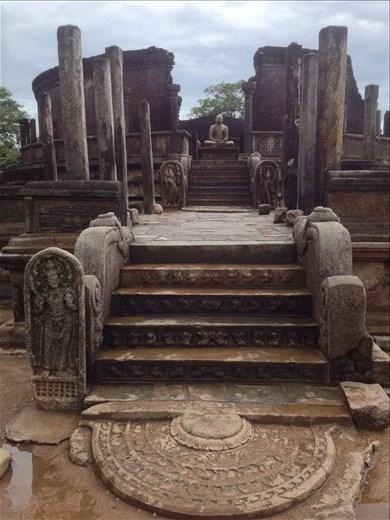 The ancient city of Polonnaruva. This temple called Vatadage may have been originally used as the Temple of the Tooth.
