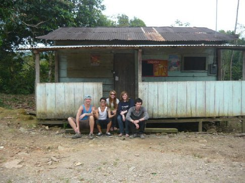 Out the front of the 'bus stop / Marie's house' (it's a happening place...)