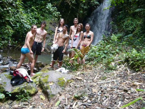 At the waterfall...is it the camera or are we all leaning?