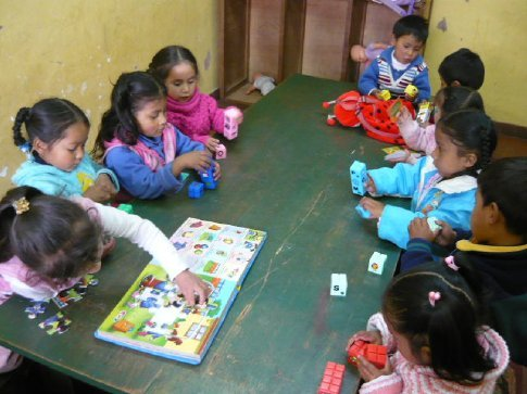 My class, enjoying the blocks & puzzles I bought