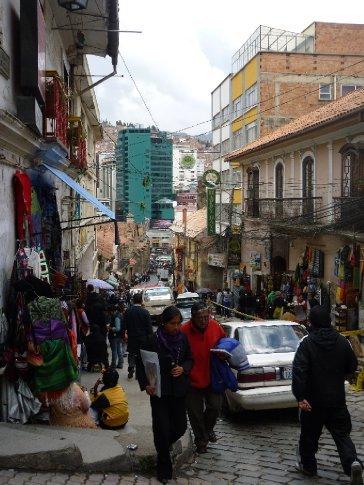 Calle Sagarnaga (main tourist street)down to the Prado