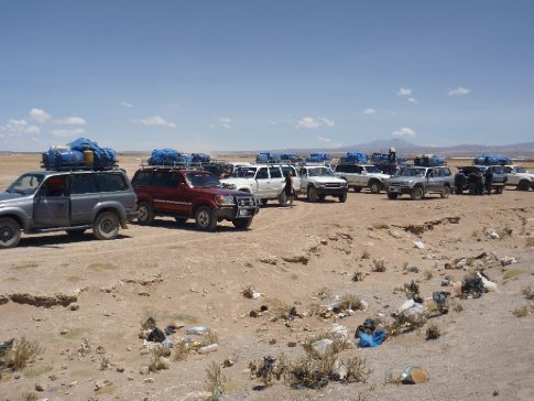 This was only half of the fleet of Toyotas heading to the Salar