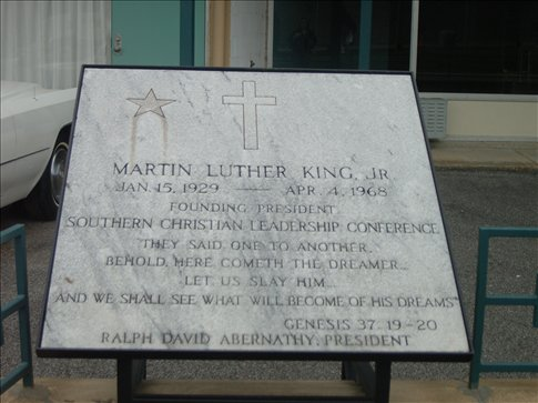 Memphis - Lorraine Motel, a plaque in memory of Martin Luther KIng