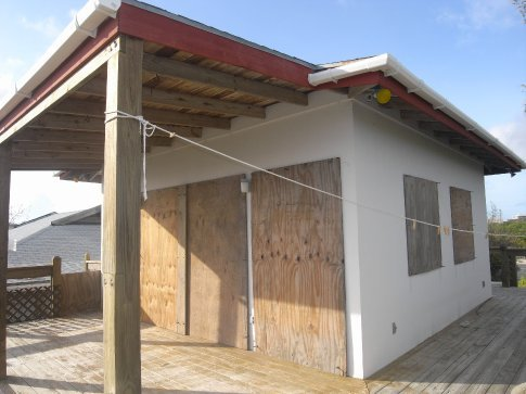 Our apartment boarded up for Ike