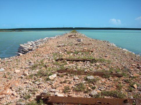 Remains of the railway line running across the island