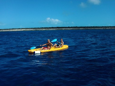 Steve and I kayaking in a more conventional way