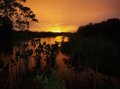 Spectacular sunset in the Amazon