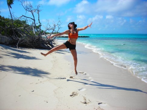 Little Water Cay - jumping for joy