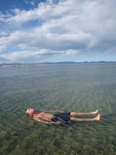 Mono Lake - 7000ft above sea level- cold but you can float due to high salt content